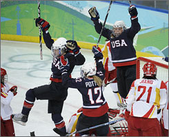U.S. forward Jenny Potter and teammates had plenty to celebrate in a 12-1 rout of China.