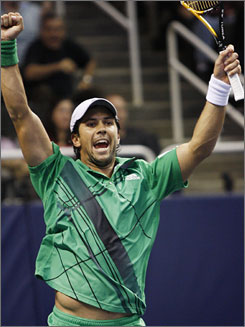 Fernando Verdasco celebrates after beating Andy Roddick to win the SAP Open for his fourth career title.