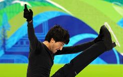 American Evan Lysacek warms up during a training session at the Olympics.