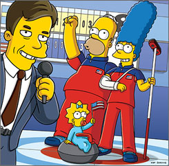 In the Olympic spirit, Homer and Marge Simpson have taken to curling.