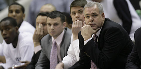 Dave Rose coaches his BYU Cougars from the bench during their game against Utah on Jan. 30. Rose, who was treated for pancreatic cancer in the offseason, has the Cougars ranked 14th in the coaches' poll.