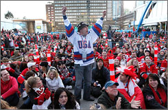Fans lined up in Vancouver with excitement for the U.S.-Canada hockey game on Sunday.