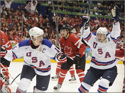 The Americans defeated the Canadians 5-3 on Sunday.