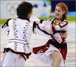 Americans Ben Agosto and Tanith Belbin were fourth entering Monday's final round of ice dancing competition.