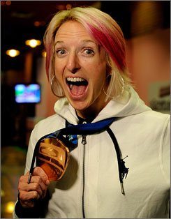 Shannon Bahrke won bronze in the women's freestyle moguls.