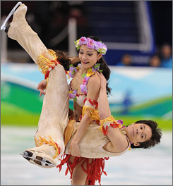 Christina Beier lifted up her brother, William, in ice dancing competition.