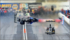 This crash by NHRA Top Fuel driver Antron Brown sent his tire into the grandstands, over the catch fence, killing an unidentified woman Sunday. A probe into the incident is underway by officials.