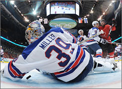 "Ryan Miller ""has been the best goaltender in the NHL this year,"" Team USA GM Brian Burke said."