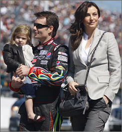 """I'm a highly competitive person, and whether I'm driving or not I want to be involved in racing,"" says Jeff Gordon, walking with wife Ingrid and daughter Ella before the Daytona 500."