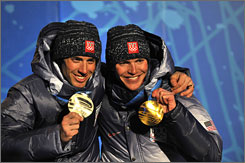 Silver medalist Johnny Spillane, left, and gold medalist Bill Demong gave the Americans a 1-2 finish in Nordic combined.