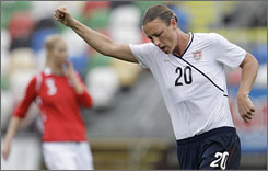 American Abby Wambach celebrates after scoring the opening goal in the 13th minute against Norway.