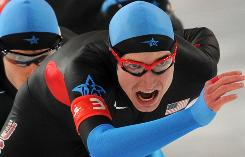 U.S. team pursuit leader Chad Hedrick led the Americans to a silver medal Saturday at the Richmond Olympic Oval.