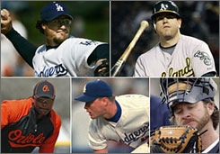 From top left to right: Eric Gagne, Jack Cust, Miguel Tejada, Matt Herges and Gregg Zaun.