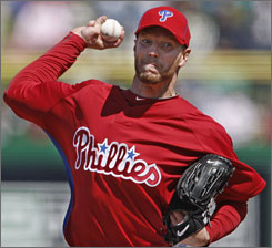Roy Halladay made his Phillies debut against the World Series champs New York Yankees.
