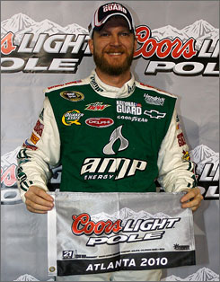 Dale Earnhardt Jr. won his first Sprint Cup pole since April 2008 thanks to a blistering speed of 192.761 mph on Friday.