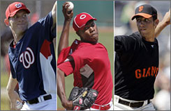 Nationals' Stephen Strasburg, left, Reds' Aroldis Chapman, center, and Giants' Madison Bumgarner are young rookie pitchers to watch in 2010.
