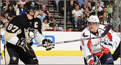 Sidney Crosby, left, is tied for the league lead in goals with Alex Ovechkin, who is first in points.