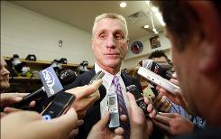 "Flyers general manager Paul Holmgren addresses the media regarding the Mike Richards hit on David Booth of the Florida Panthers on Oct. 24. ""I feel good. ... I think we are going to come up with something to address the issues we have with the safety of our players,"" Holmgren said about the meetings today."