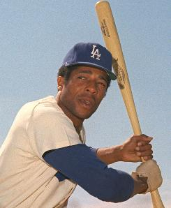 Former Dodgers outfielder Willie Davis poses in 1970, a season during which he batted .305 with 16 triples.