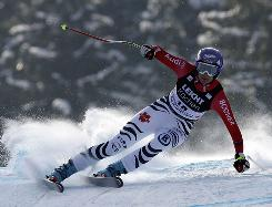 Maria Riesch skis to a first-place finish in Garmisch-Partenkirchen, Germany.