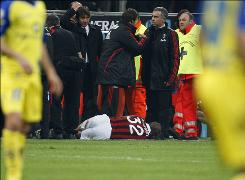 David Beckham lies on the ground after suffering an apparent torn Achilles' tendon during AC Milan's Serie A match against Chievo.
