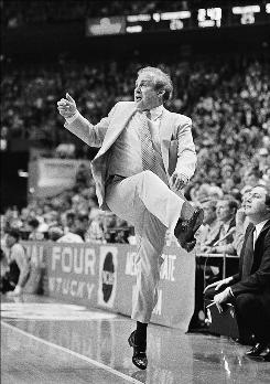 In this 1985 file photo, Villanova coach Rollie Massimino dances his way to victory over Georgetown in the NCAA Championship game in Lexington, Ky.