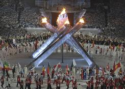 Athletes enter the stadium during closing ceremonies of the Vancouver 2010 Winter Olympics.