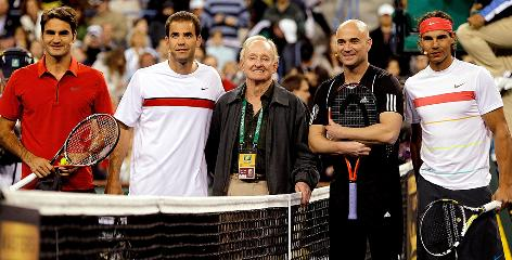 Roger Federer, left to right, Pete Sampras, Rod Laver, Andre Agassi and Rafael Nadal join on the court during last week's Hit for Haiti exhibition at the BNP Paribas Open in Indian Wells, Calif.
