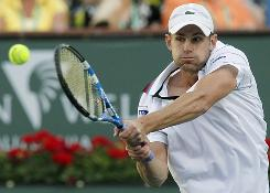 Andy Roddick of the USA fires a backhand at Thiemo de Bakker of the Netherlands in a third-round victory Tuesday at the BNP Parabas Open in Indian Wells, Calif. Roddick won 6-3, 6-4.