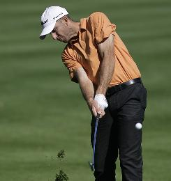 Geoff Ogilvy hits from the 10th fairway during the third round of the Transitions Championship golf tournament Saturday.
