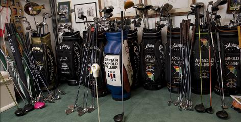 Arnold Palmer has more thatn 10,000 golf clubs in his collection, many of them at his workshop in Latrobe, Pa.