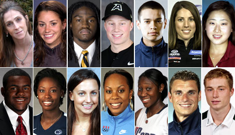 Candidates for the 2009 AAU Sullivan Award (clockwise from top left): Amy Palmiero-Winters, Angela Bizzarri, Armanti Edwards, Clint Moore, Duran Caferro Jr., Erin Hamlin, Jennifer Song, Mark Ingram, Megan Hodge, Rebecca Soni, Sanya Richards, Tina Charles, Troy Dumais and Zak Boggs.