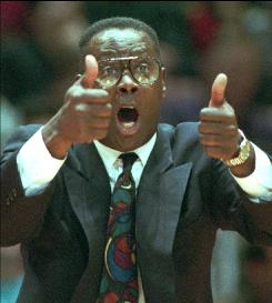 "Shown here as coach of the Philadelphia 76ers in 1993, Fred Carter scored 20 points per game for the 1972-1973 76ers, which finished the season with a 9-73 record, worst all time. Carter has called himself ""the best player on the worst team in history."""