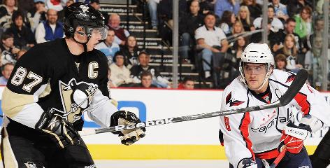 Sidney Crosby and Alex Ovechkin are tied for the NHL's goal-scoring lead, though Ovechkin has played 10 fewer games.