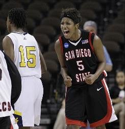 San Diego State's Jene Morris celebrates after the Aztec's 64-55 upset win over No. 3 seed West Virginia. Morris scored 27 points.