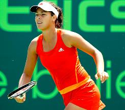 Ana Ivanovic of Serbia sets up for a return during her victory Thursday against Pauline Parmentier of France at the Sony Ericsson Open in Key Biscayne, Fla.