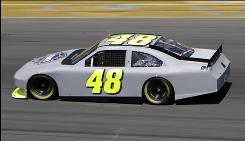 Jimmie Johnson was among the fastest cars at a practice session during the two-day spoiler tests at Charlotte Motor Speedway this week.