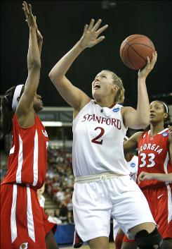 Stanford center Jayne Appel shoots over Georgia defender Porsha Phillips, left, during the first half of the Cardinal's rout over the Bulldogs.