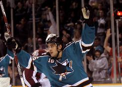 San Jose's Devin Setoguchi celebrates one of his two goals against the Colorado Avalanche Sunday.