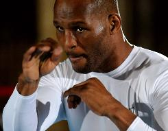 Bernard Hopkins works out at the Mandalay Bay in Las Vegas this week in preparation for his long-awaited rematch with Roy Jones Jr. in a light heavyweight non-title bout Saturday.