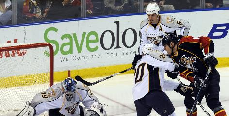 Nashville Predators defensemen Ryan Suter, center, and Shea Weber were taken in the first two rounds in 2003.