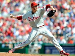Roy Halladay, Philadelphia's big offseason acquisition, allowed one run, six hits and two walks and struck out nine in seven innings in the opener against the Nationals.