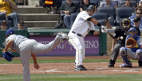 The Pirates' Garrett Jones connected for two home runs on opening day against the Dodgers pitchers.