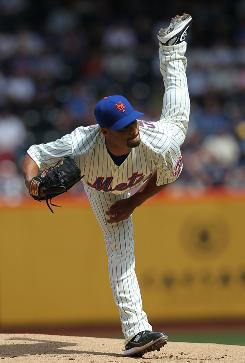 Mets starter John Santana allowed just four hits to improve to 4-1 with a 3.56 ERA in five career opening-day starts.