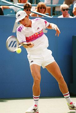 Ivan Lendl fires a forehand at the 1994 U. S. Open in Flushing Meadows, N.Y. Lendl will play Saturday in an exhibition in Atlantic City, the first time he's played tennis in public since he retired in 1994.