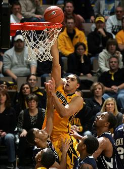 Aaron Fuller, putting up a shot during a Jan. 16 game against Penn State, averaged 12.3 points and 7.6 rebounds against Big Ten teams this past season.