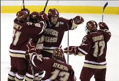 Boston College won its second NCAA men's Division I hockey championship in three years with a shutout win over Wisconsin.