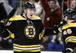 The Bruins' Blake Wheeler, left, celebrates his goal with David Krejci during the second period on Saturday.