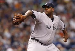 Yankees starter CC Sabathia pitched 7 2/3 innings of hitless ball while striking out five Rays batters in New York's shutout victory.