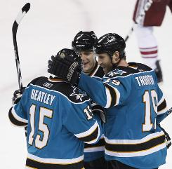 San Jose's Dany Heatley, Patrick Marleau and Joe Thornton make up a dangerous line, but Thornton has plenty to prove in the playoffs.